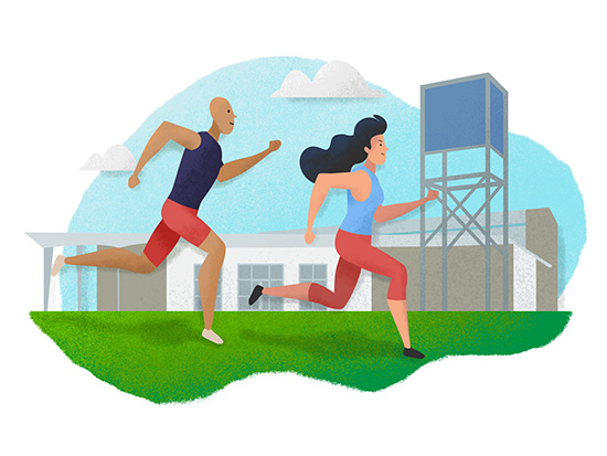 Man and women track athletes training