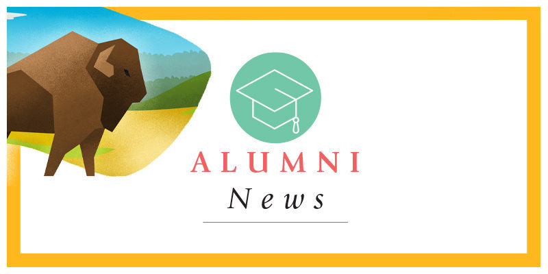 Alumni News with an illustration of a bison in a field